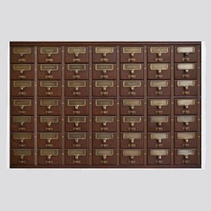 Vintage Library Card Catalog Drawers 4' x 6' Rug