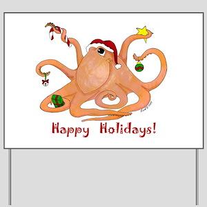 Christmas Octopus Yard Sign