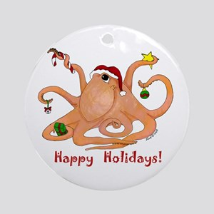 Christmas Octopus Ornament (Round)