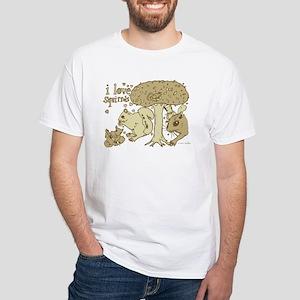 """""""I Love Squirrels"""" White T-Shirt"""