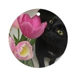 Cat with Tulips Round Ornament