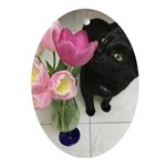 Cat with Tulips Oval Ornament
