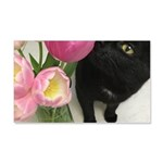 Cat with Tulips Decal Wall Sticker