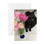 Cat with Tulips Greeting Cards