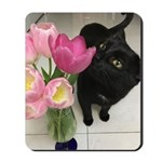 Cat With Tulips Mousepad