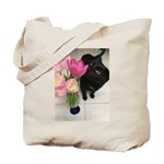 Cat with Tulips Tote Bag
