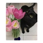 Cat With Tulips Throw Blanket