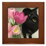 Cat with Tulips Framed Tile
