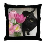 Cat with Tulips Throw Pillow