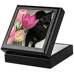 Cat with Tulips Keepsake Box