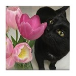 Cat with Tulips Tile Coaster
