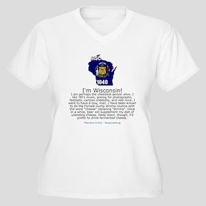 Wisconsin Women's Plus Size V-Neck T-Shirt