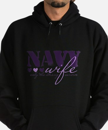 Navy Wife ... [purple] Hoodie (dark)