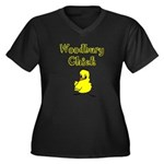 Woodbury Chick Women's Plus Size V-Neck Dark T-Shi