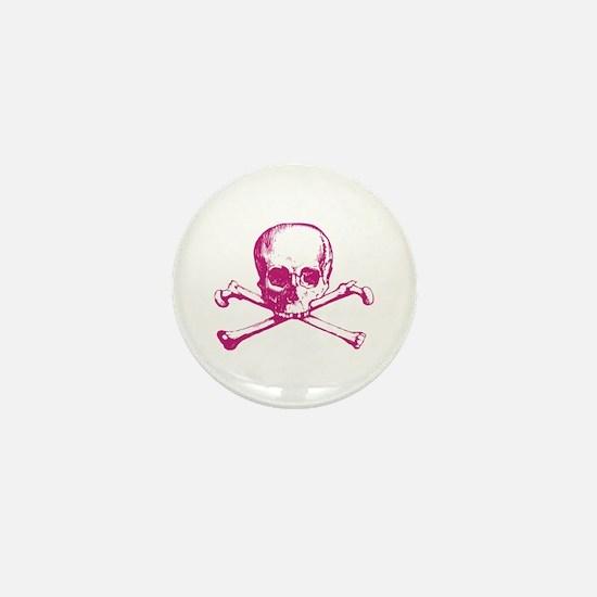 Hot Pink Cross Bones Mini Button