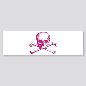 Hot Pink Cross Bones Bumper Sticker