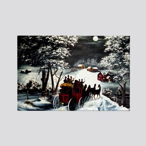 Winter Carriage Ride Rectangle Magnet