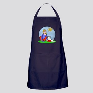 Girl and her shih tzu dog Apron (dark)