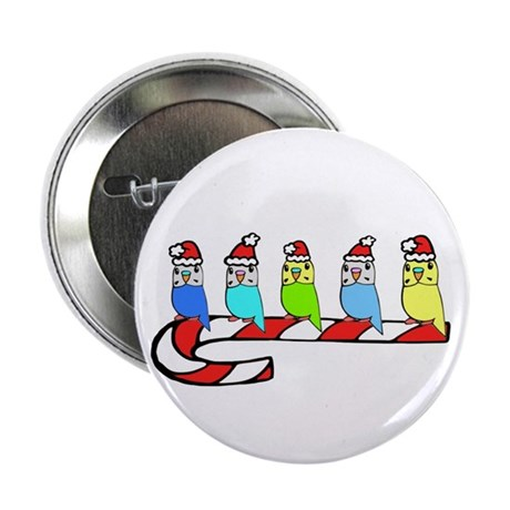 """Budgies- Christmas 2.25"""" Button (100 pack)"""