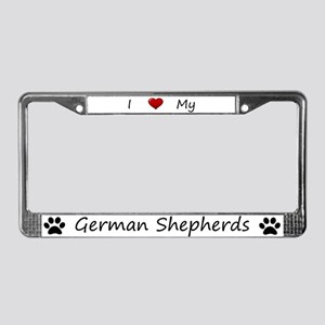 White I Love My German Shepherds Frame