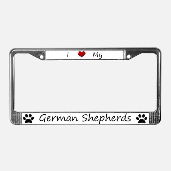 White I Love My German Shepherds Frame