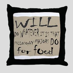 Homeless Philosopy Major Throw Pillow