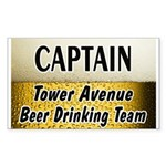 Tower Avenue Beer Drinking Team Rectangle Sticker