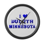 I Love Duluth Winter Large Wall Clock