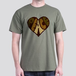 Earthtone Peace Heart Dark T-Shirt
