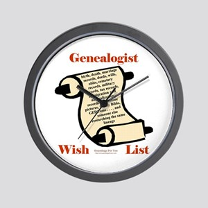 Genealogy Wish List Wall Clock