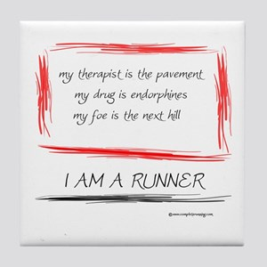 I Am A Runner Slogan #5 Tile Coaster