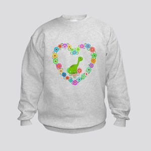 Dinosaur in Heart of Flowers Kids Sweatshirt