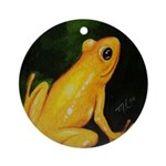 Golden Tree Frog Ornament (Round)