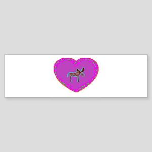 Pink Moose Heart Bumper Sticker