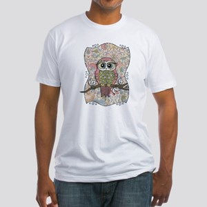 Owl Portrait Fitted T-Shirt