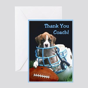 Thank You Coach Boxer Puppy Greeting Card