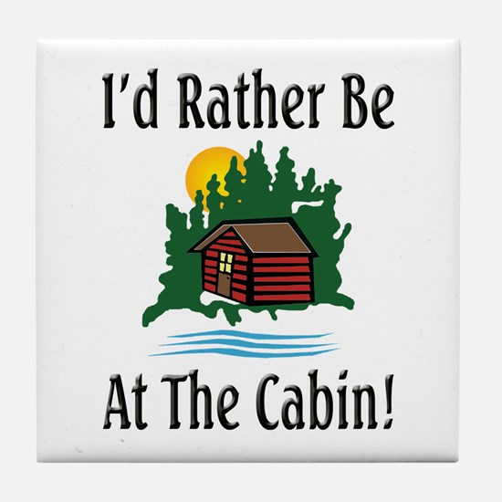 At The Cabin Tile Coaster