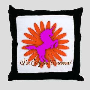 gay for unicorns Throw Pillow