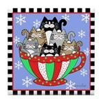 6 Cats in Chistmas Mug Tile Coaster