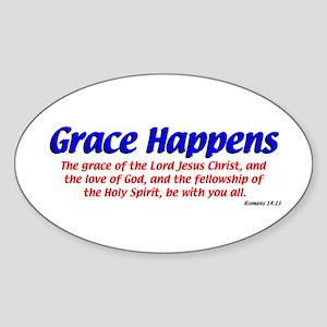 Grace Happens Oval Sticker