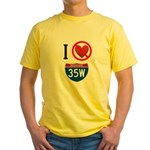 I Hate Interstate 35W Yellow T-Shirt