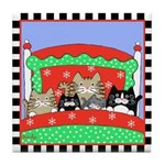 5 Cats in Bed ChirstmasTile Coaster
