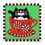 Tuxedo Cat in a Christmas Teacup Tile Coaster