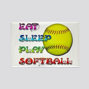 Eat Sleep Play Softball 3 Rectangle Magnet