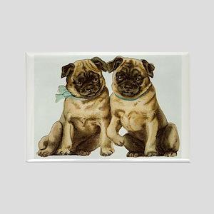 Pug Dogs Vintage Art Rectangle Magnet