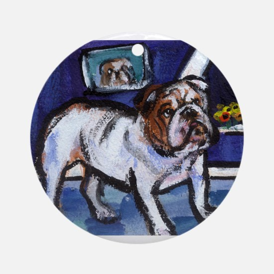 English Bulldog moon Ornament (Round)