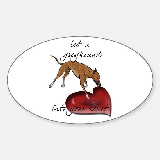 Greyhound Heart Oval Decal