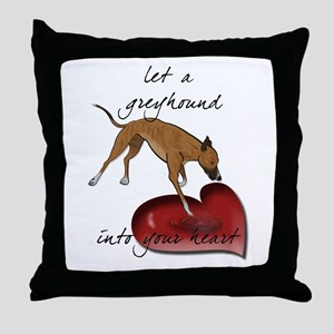 Greyhound Heart Throw Pillow