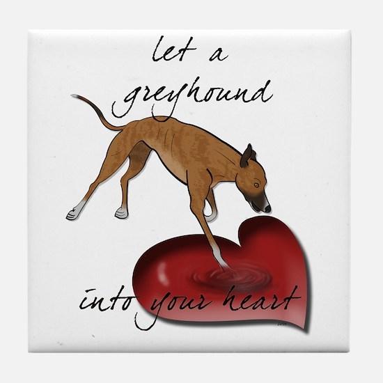 Greyhound Heart Tile Coaster