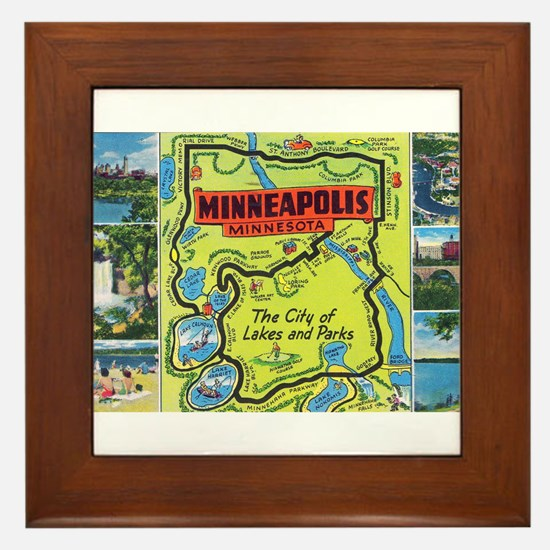 1940's City of Lakes and Parks Framed Tile
